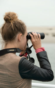 meisje kijkt naar zeehonden